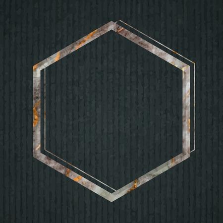 Hexagon frame on dark green fabric textured background vector Illustration