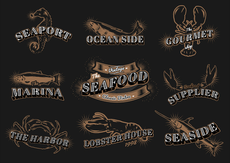 Seafood restaurant vintage logos vector set Illustration