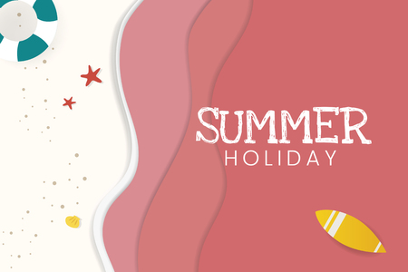 Summer holiday tropical beach background vector Illustration