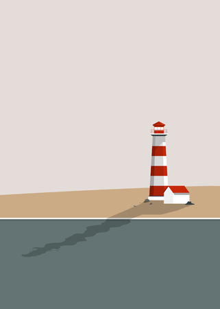 Lighthouse by the sea summer vector Reklamní fotografie - 123281751