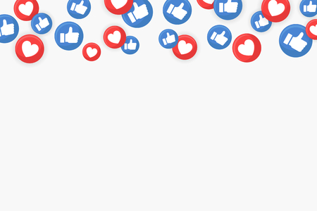 Social media thumbs up and heart icons border on white background vector