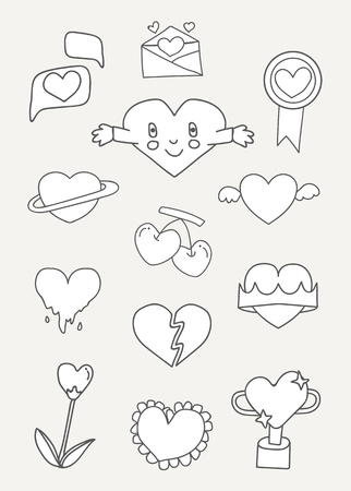 White heart design collection vectors 일러스트