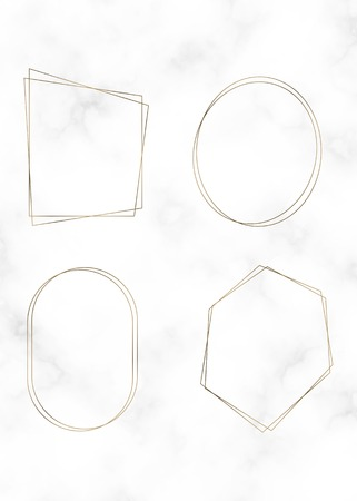 Golden polygon frame vector set  イラスト・ベクター素材