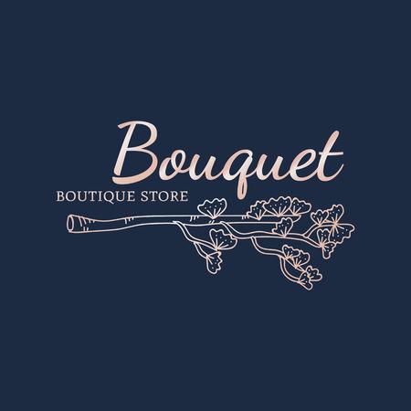 Bouquet boutique store logo vector