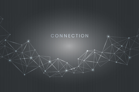 Gray connecting dots technology background vector Illustration