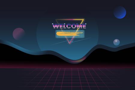 Retro neon landscape background vector Illustration