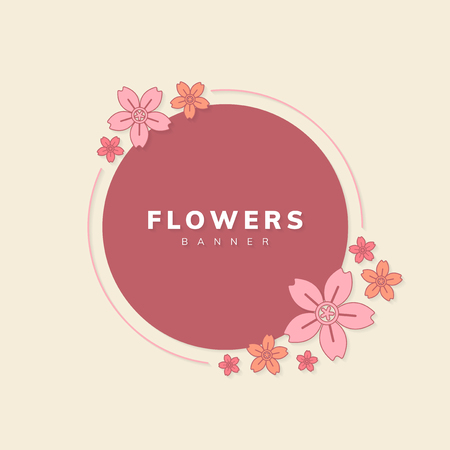 Round spring flower badge vector