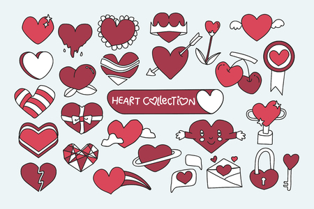 Red heart design collection vector