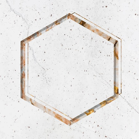Hexagon frame on white marble textured background vector