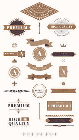 Vintage premium design element set vectors