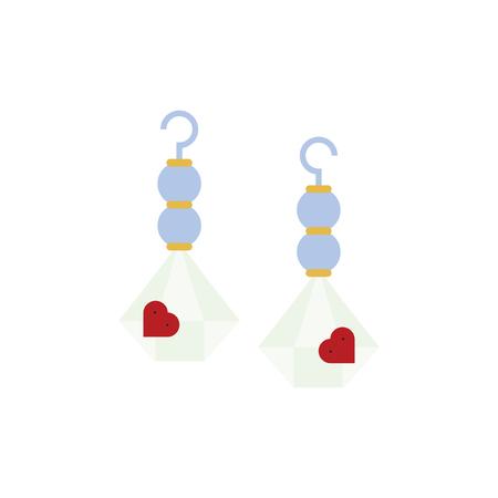 Accessorio per orecchini a forma di cuore vettore