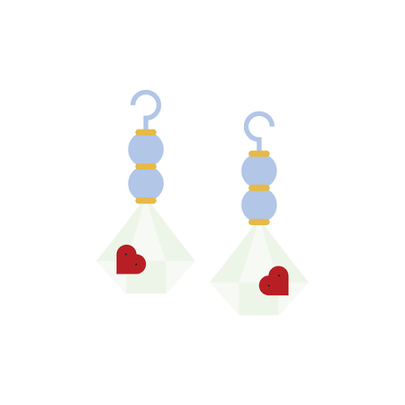 Earrings accessory with heart shapes vector