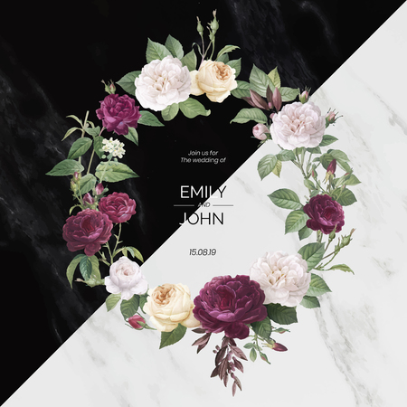 Floral wreath on a marble textured background vector  イラスト・ベクター素材