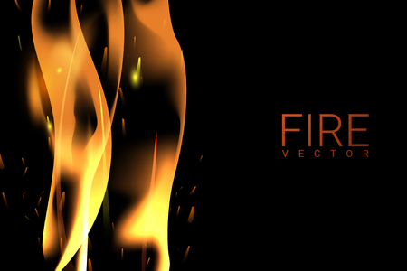 Yellow blazing flame on a black background vector