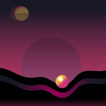 Retro neon landscape background vector Ilustracja
