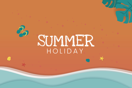 Summer holiday tropical beach background vector Standard-Bild - 123281808