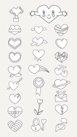 White heart design collection vectors Illustration