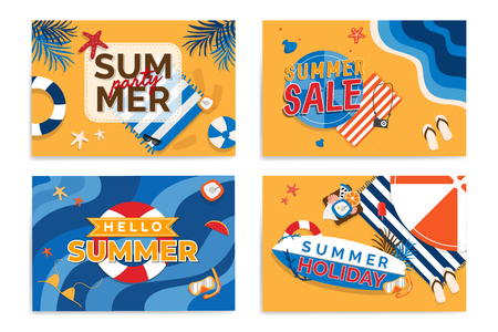 Summer holiday party collection vector