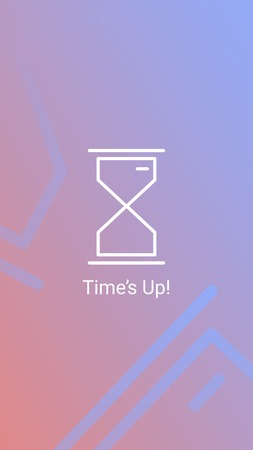 Hourglass with time up vector