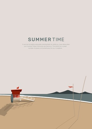 Beach cabin by the seaside vector