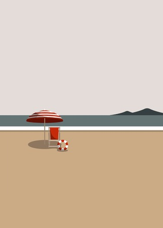 Summer time with umbrella and chair by the beach vector 向量圖像