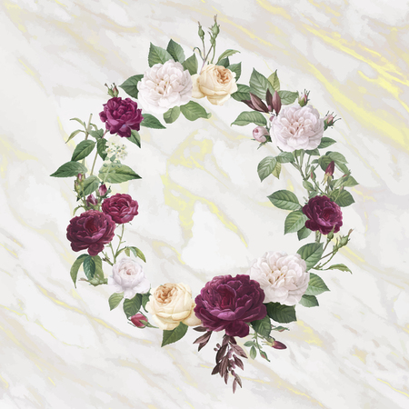 Floral wreath on a marble textured background vector 向量圖像