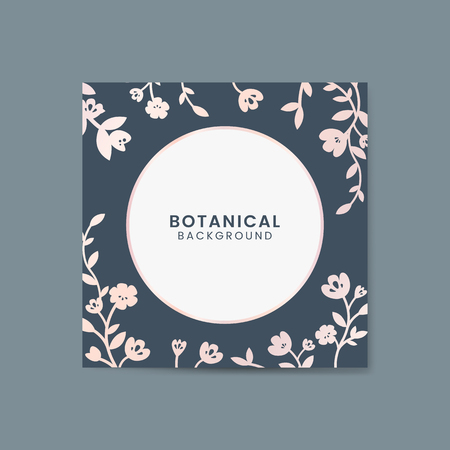 Pink botanical round framed vector