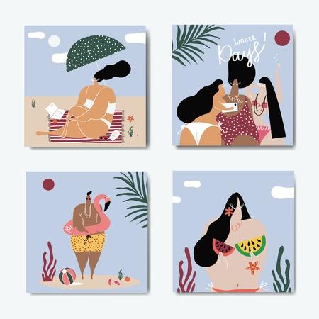 Weibliche Charaktere, die den Sommerkollektionsvektor genießen Vektorgrafik