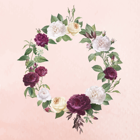 Floral wreath on a pink paper textured background vector