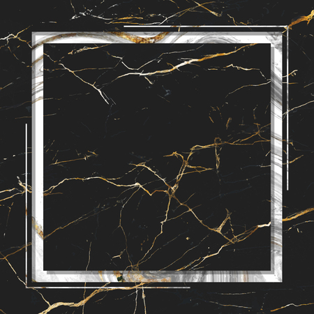 Square frame on black marble textured background vector Vettoriali