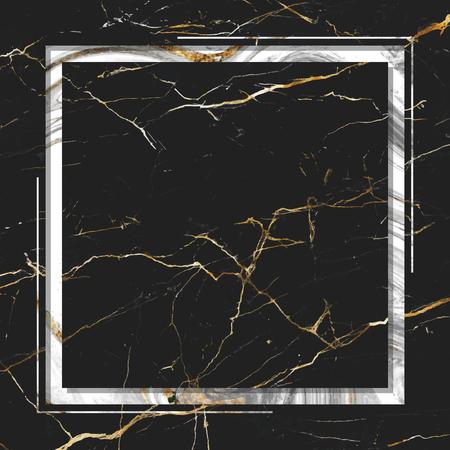 Square frame on black marble textured background vector Illustration