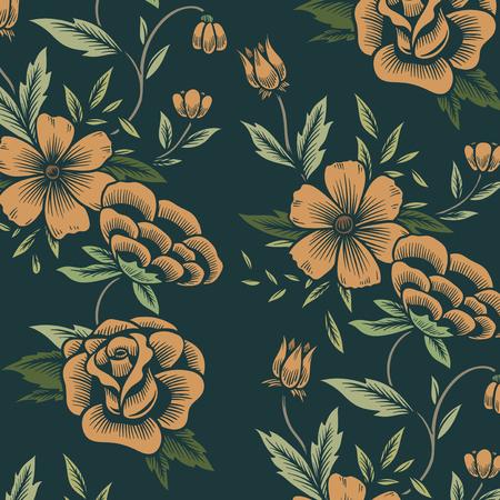 Nahtloser floraler gemusterter Hintergrund der Weinlese