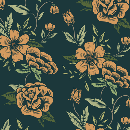Vintage seamless floral patterned background