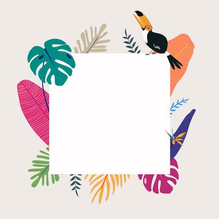 Tropical poster template beige background vector Ilustração