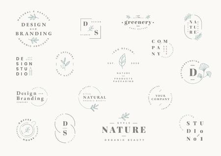 Vektorkollektion für florale Marken und Logodesigns Logo