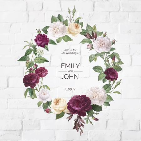 Floral wreath on a white brick wall vector