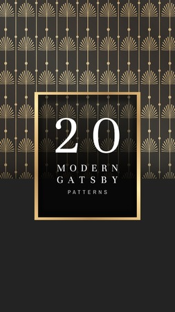 Modern golden gatsby pattern design vector Ilustrace