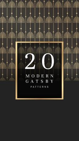 Modern golden gatsby pattern design vector Illustration