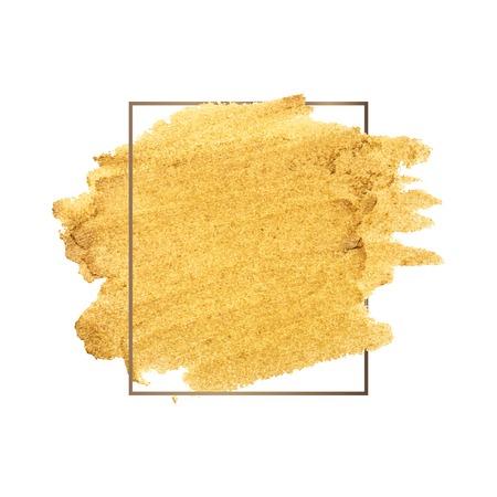 Golden shimmery brush stroke badge vector Иллюстрация