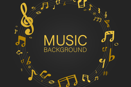Yellow music notes round badge on black background vector  イラスト・ベクター素材