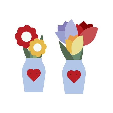 Flower vase with heart shape vector