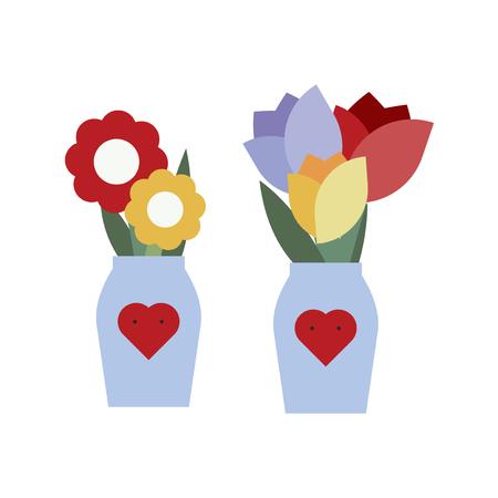 Flower vase with heart shape vector
