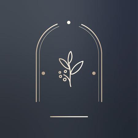Floral design badge logo vector