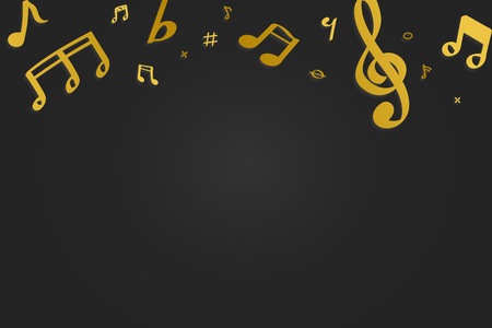 Yellow flowing music notes on black background vector