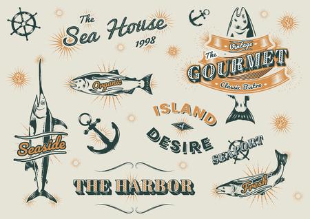 Seafood restaurant vintage logos vector set Illustration