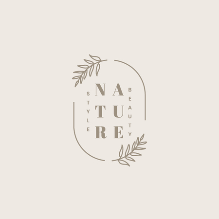 Organic beauty product logo design vector Stock Illustratie
