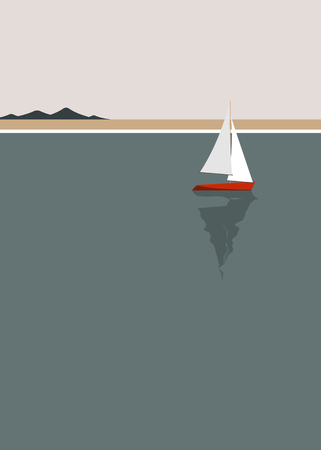 Sailing boat by the seaside vector 矢量图像