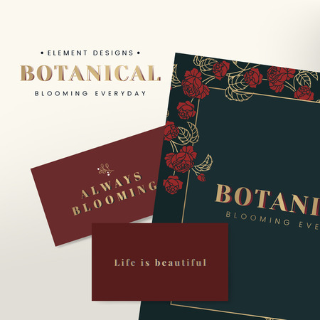 Green and red botanical element card design vector