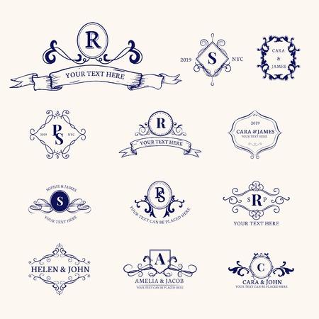 Ensemble de conception d'insigne baroque vintage Vecteurs