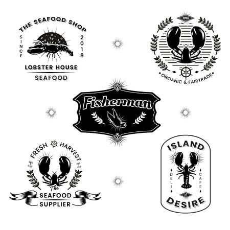 Seafood restaurant vintage logos vector set Illusztráció